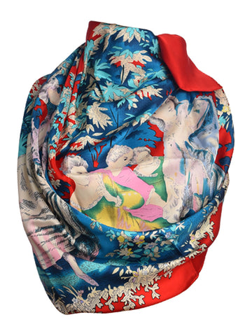 Red silk scarf with lady figures pattern