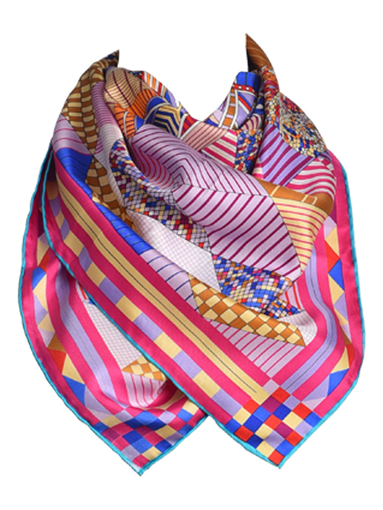 Pink silk scarf with multicolor digital pattern