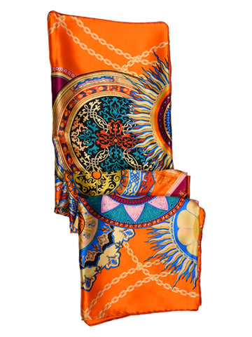 Orange silk scarf with sun theme design