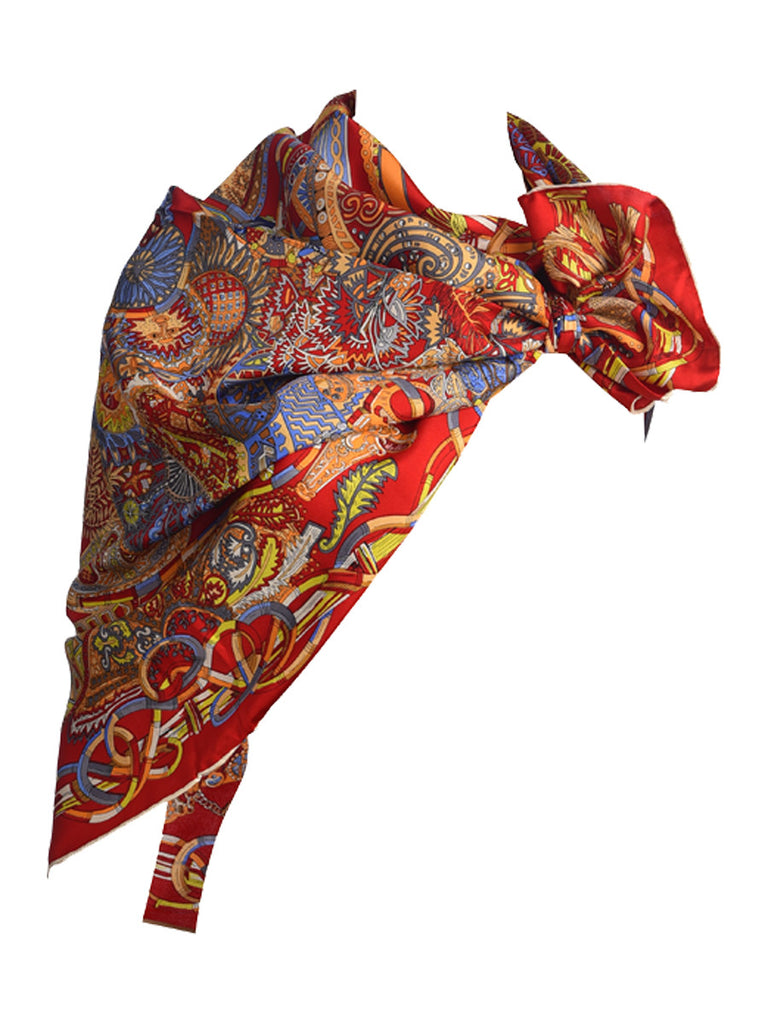 Red silk scarf with multicolor pattern
