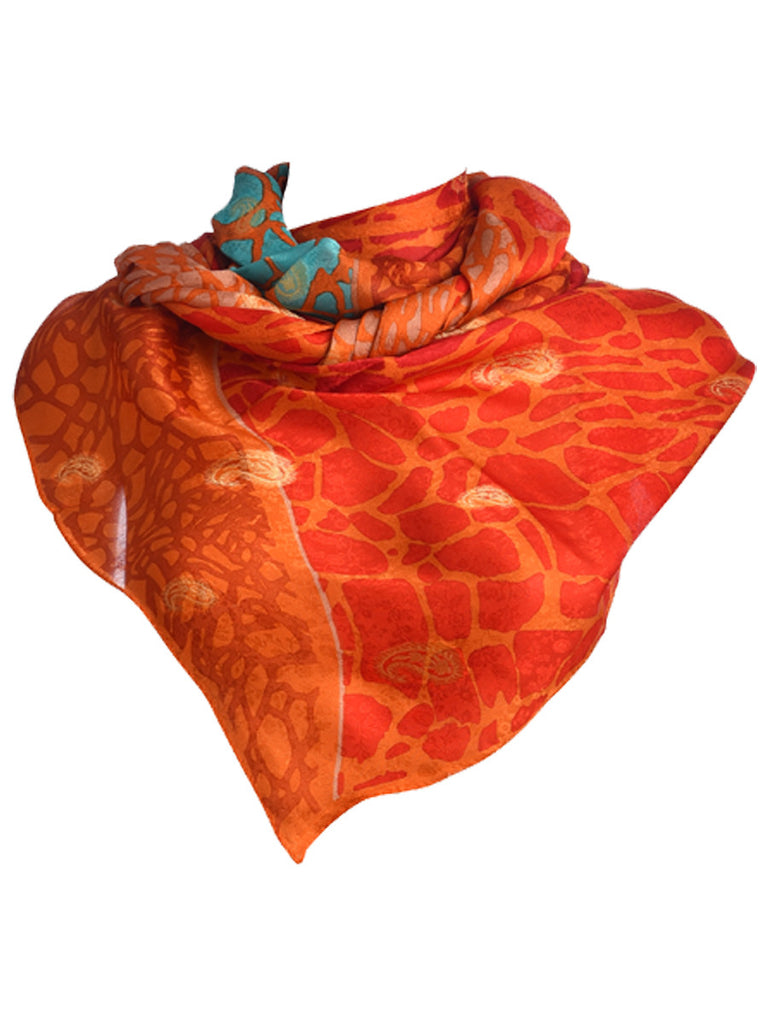 Orange chiffon silk scarf with green and red webbed design