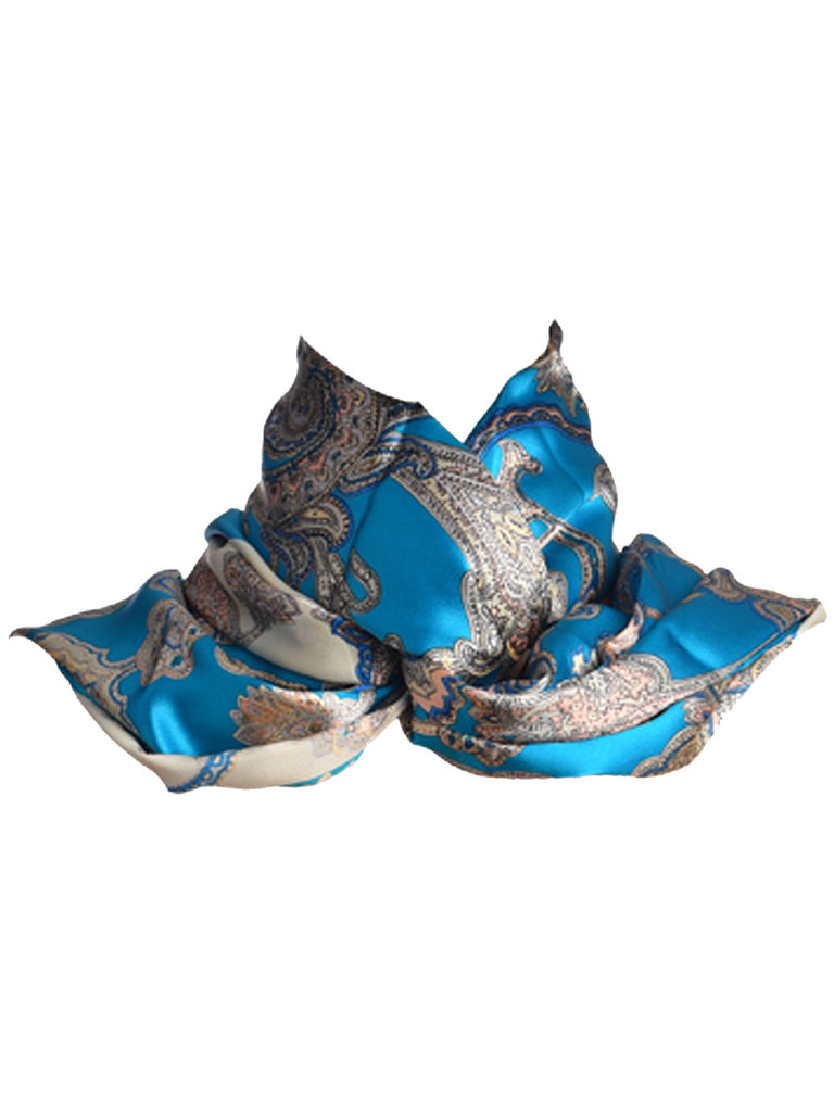 Blue and silver silk scarf with nature inspired floral print
