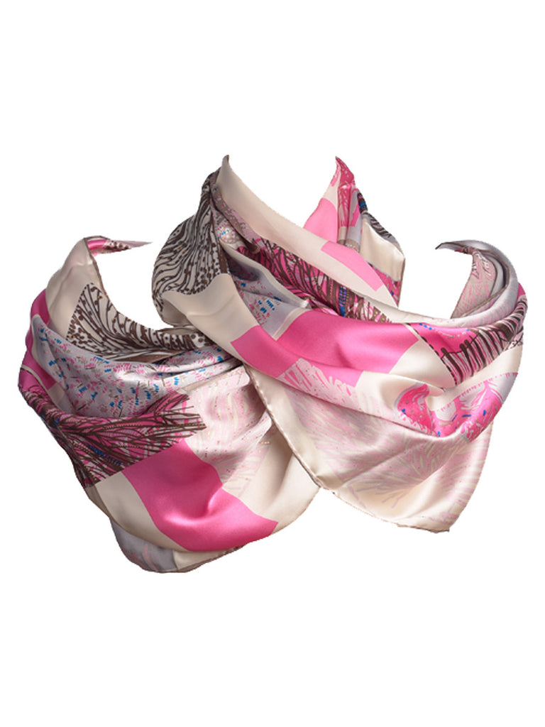 Pink and golden silk scarf with nature inspired print