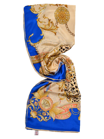 Electric blue & golden silk scarf with animal print