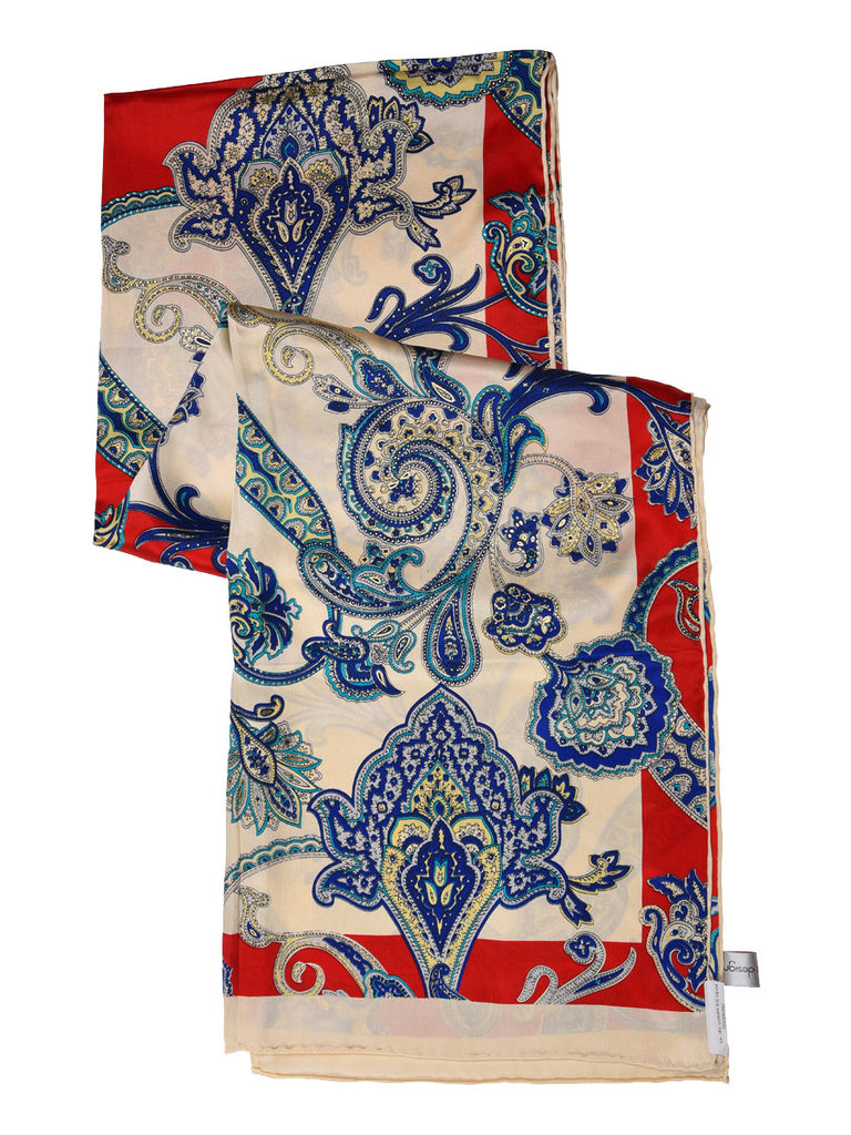 Red, blue & golden silk scarf with nature inspired print