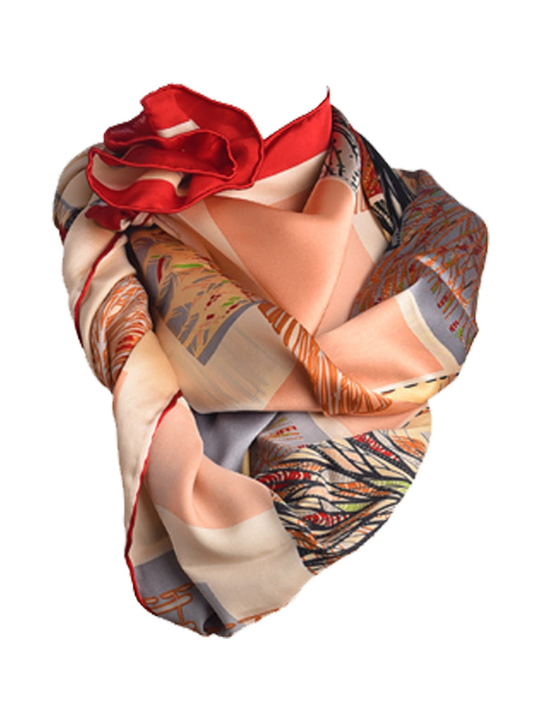 Multicolor silk scarf hosting nature inspired print