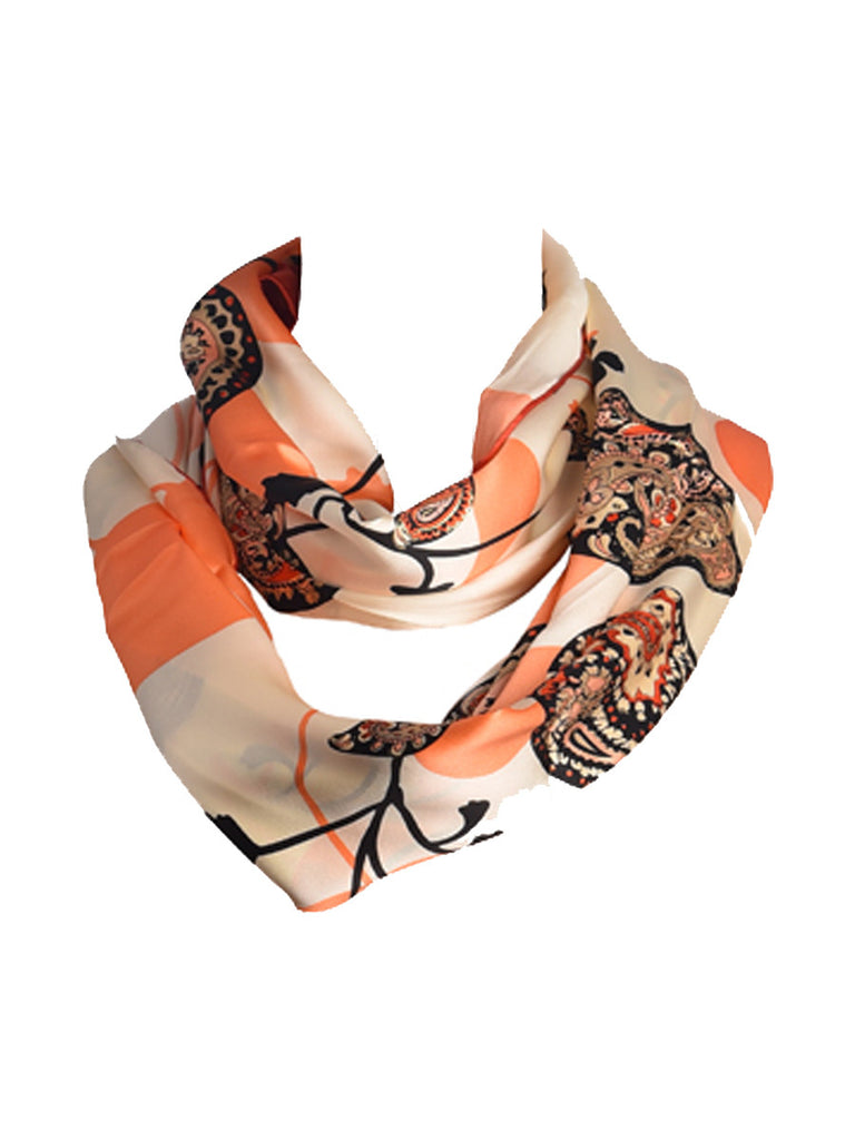 Peach & off-white silk scarf with paisley print