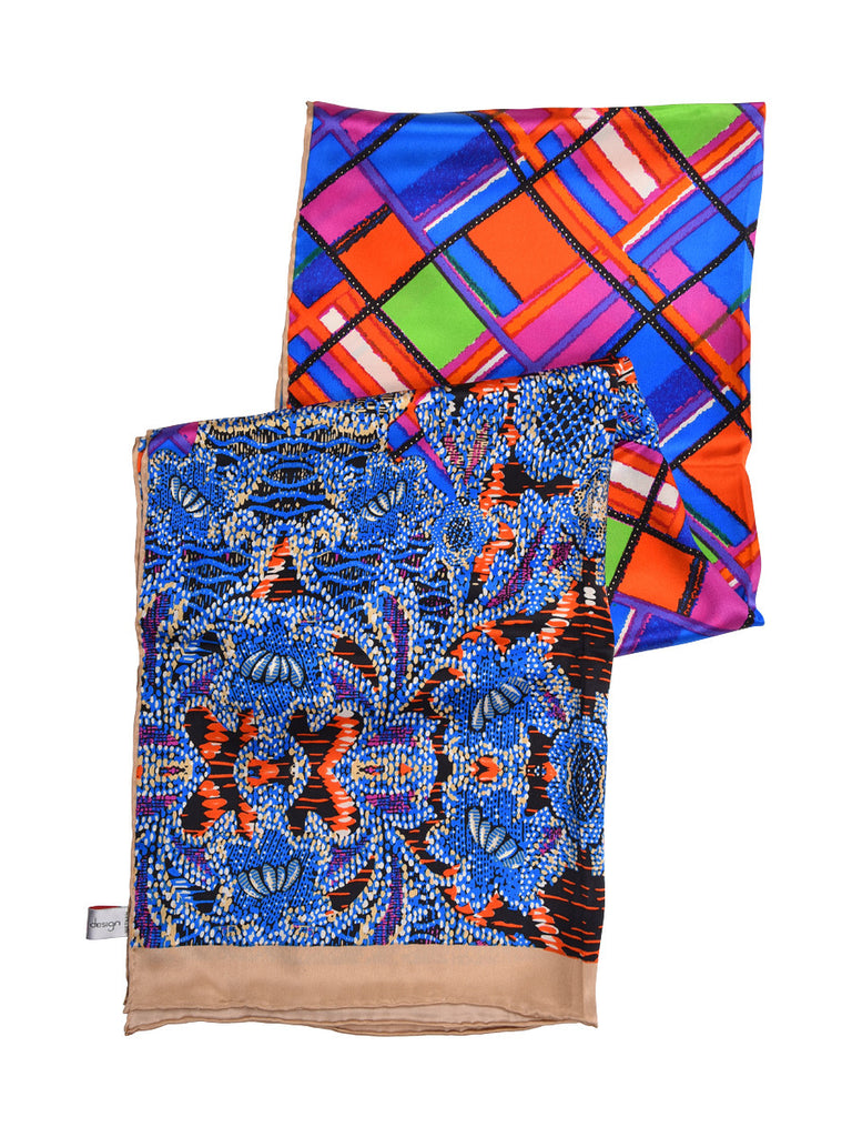 Electric blue silk scarf with contemporary print