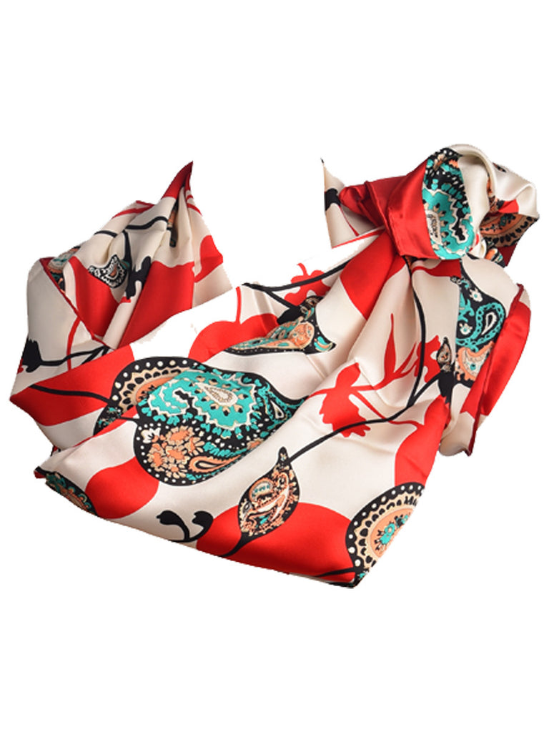 Off-white & red silk scarf with green paisley print