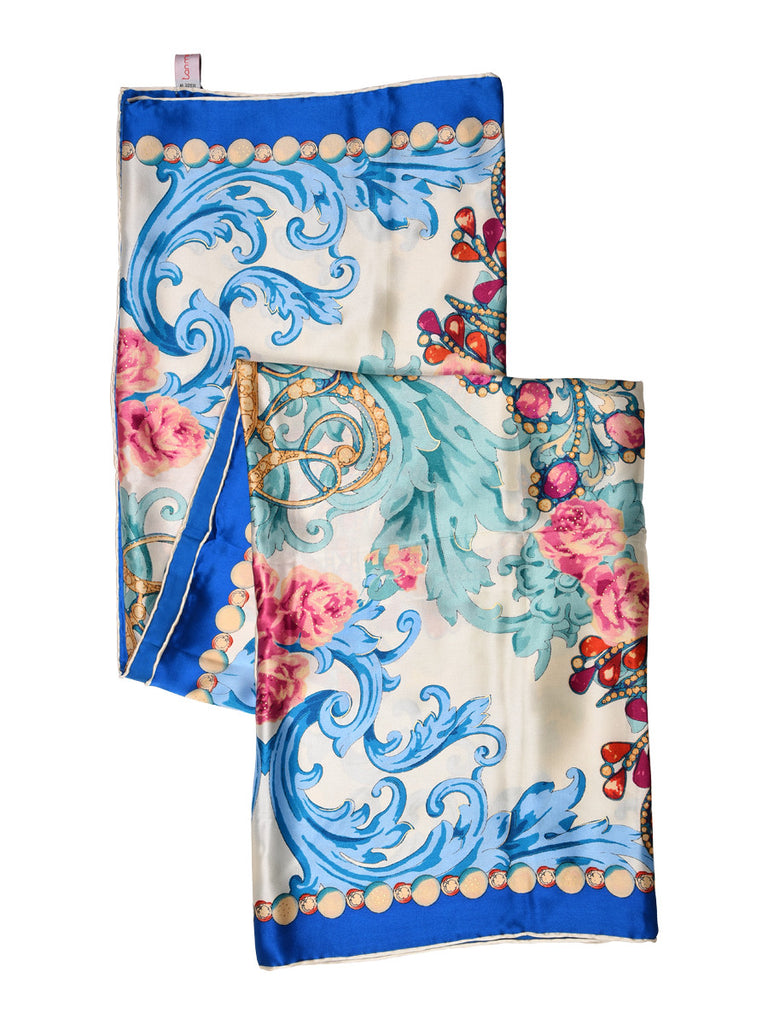 White & blue silk scarf with multicolor floral pattern