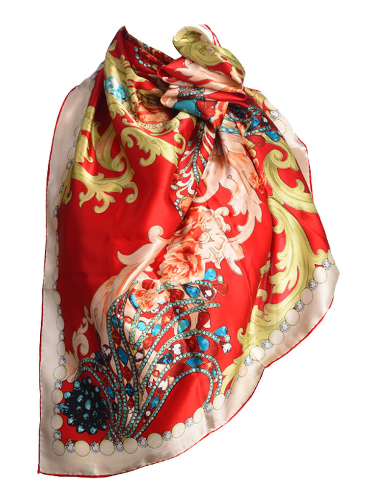 Red silk scarf with multicolour floral pattern