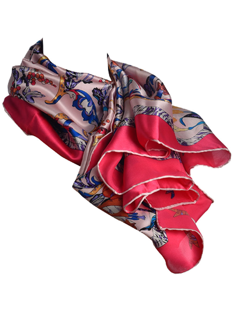 White silk scarf with fuchsia pink border and floral pattern