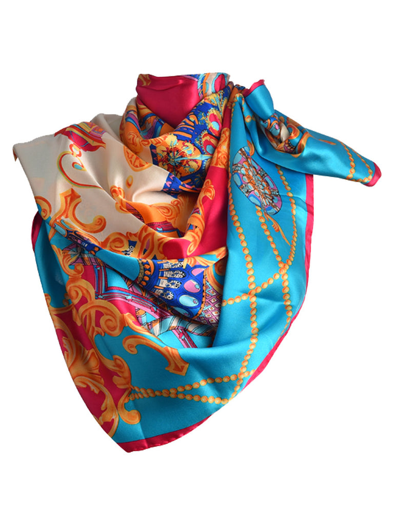 Blue silk scarf with multicolor palace theme
