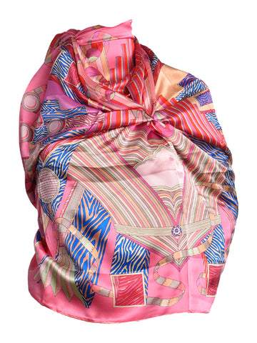 Pink silk scarf with geometric pattern