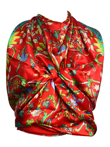Red silk scarf with multicolor floral design