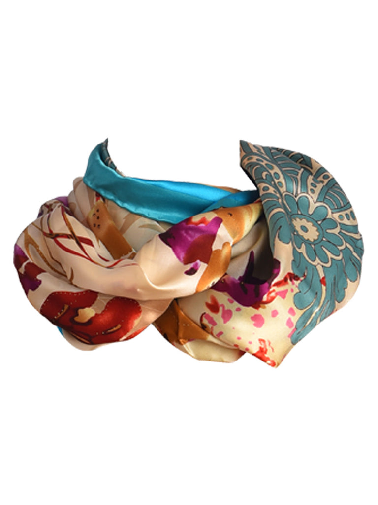Golden silk scarf with blue border and floral design