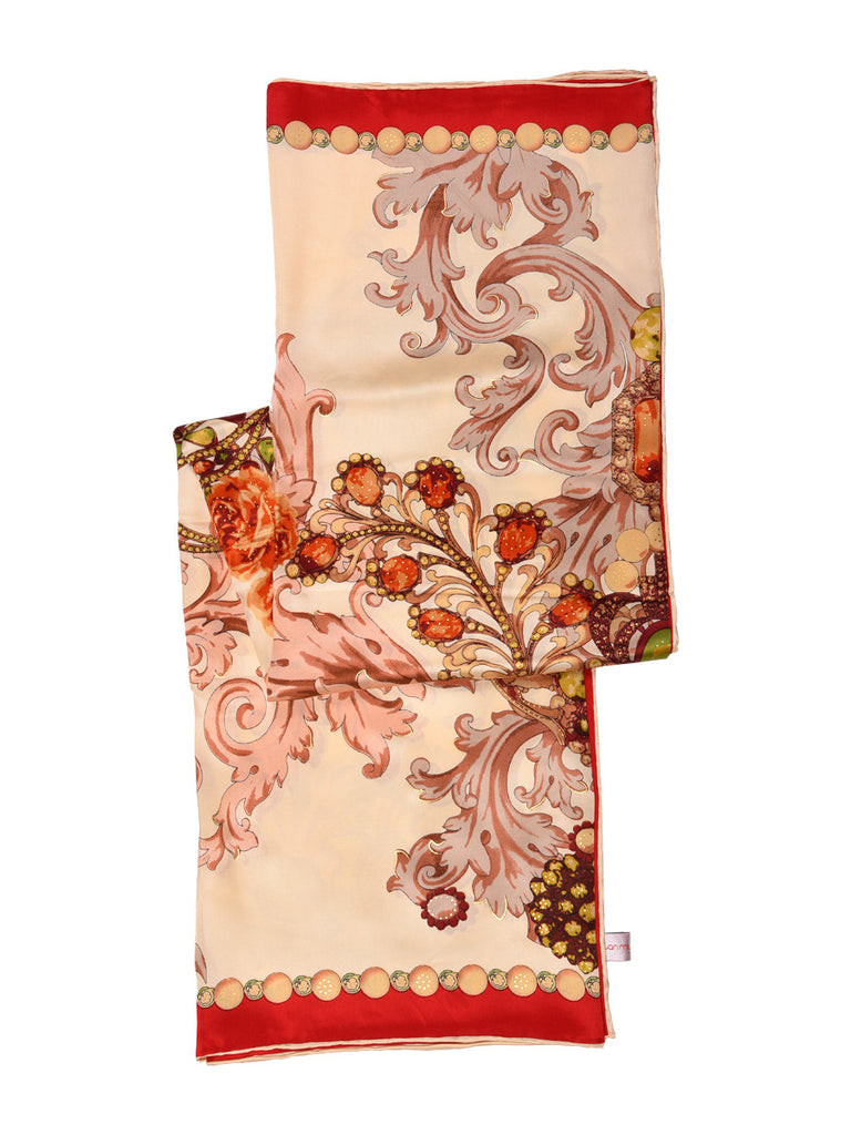 Golden silk scarf with red border and floral design