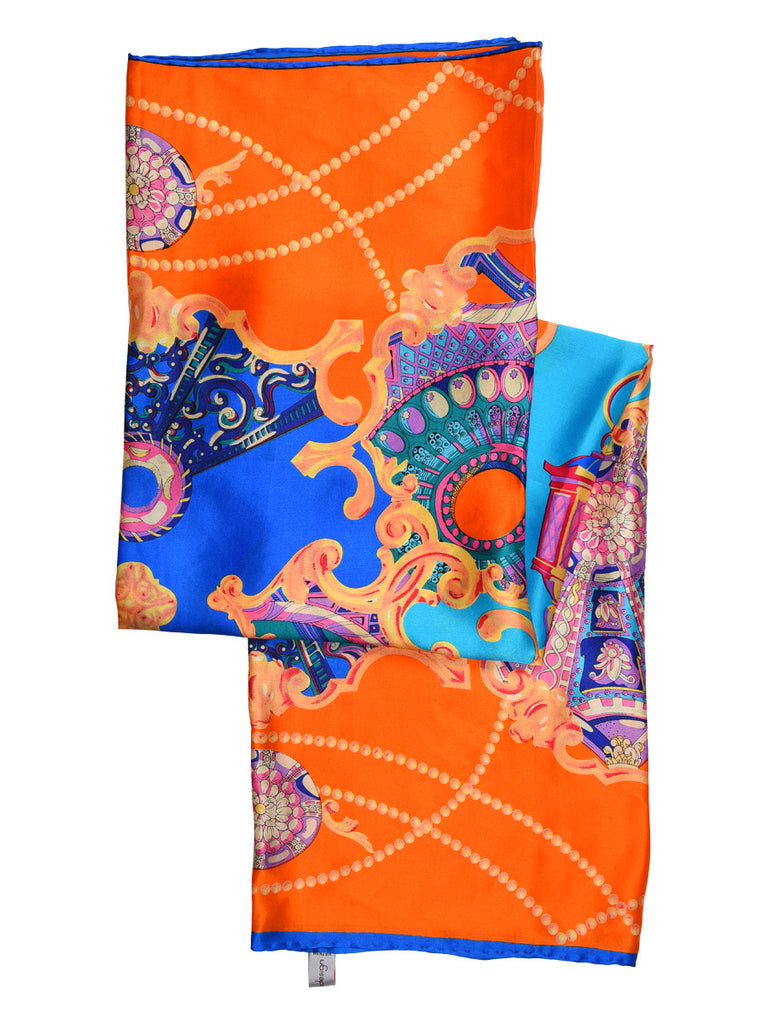 Orange and blue silk scarf with an arabian theme design