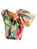 Off-white silk scarf with multicolor contemporary design