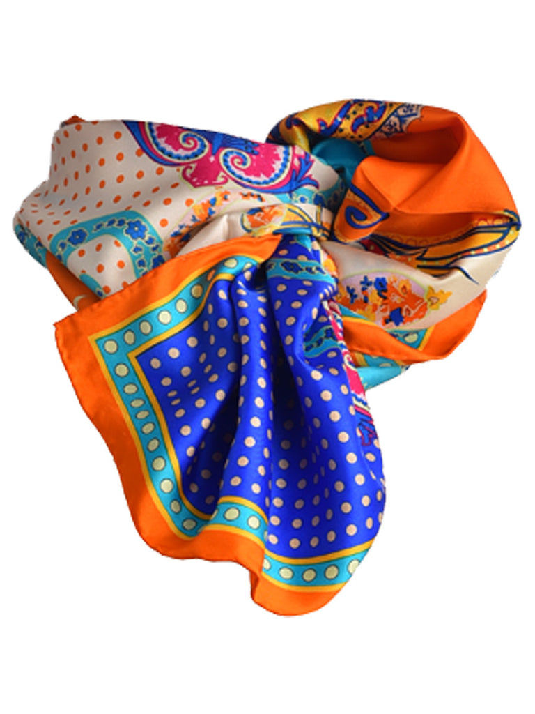 Orange, blue and off-white silk scarf with paisley design