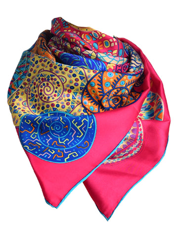 Fuchsia pink silk scarf with circular design