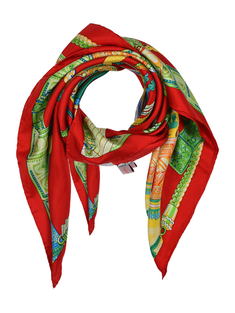 Red silk scarf with contemporary design
