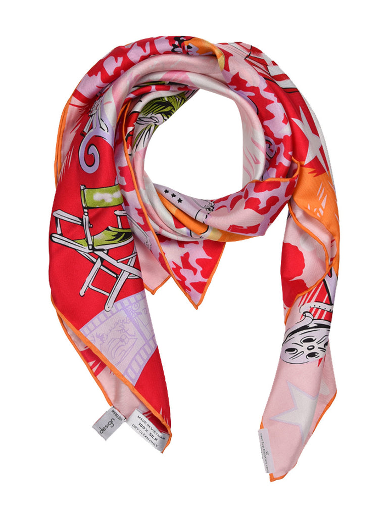 Pink and red silk scarf with modern city based design