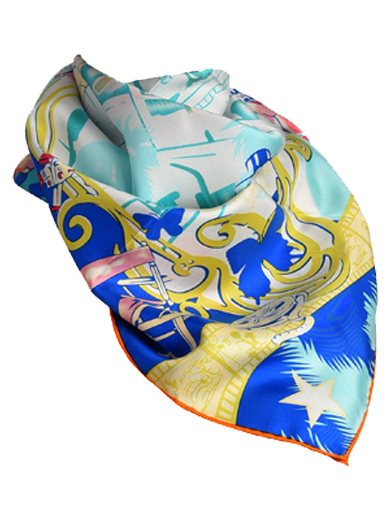Multicolor silk scarf with floral design