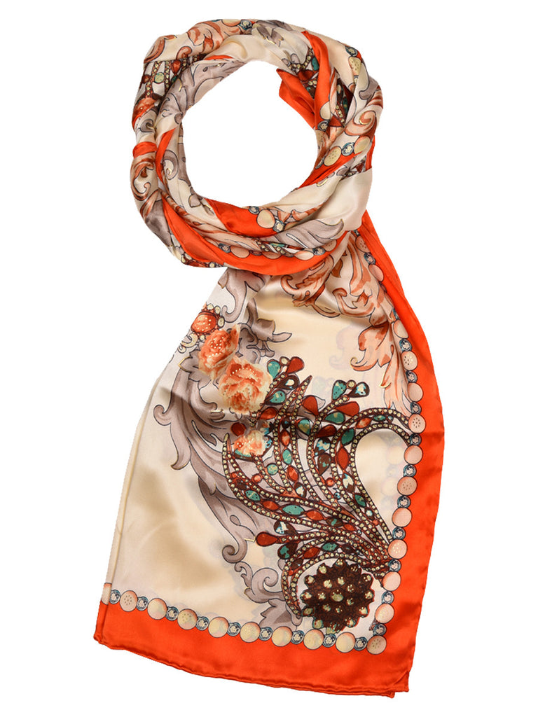 Golden & orange silk scarf with floral design