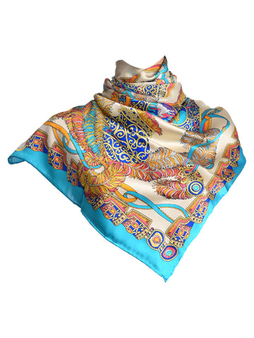 Turquoise blue & white silk scarf with nature inspired design