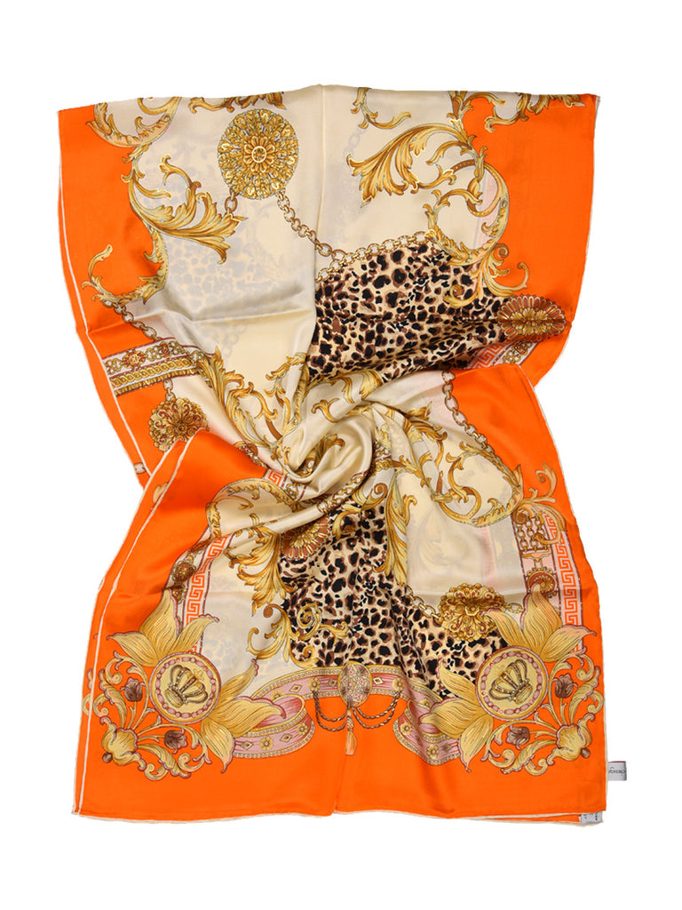 Golden & orange silk scarf with nature inspired floral & leopard design