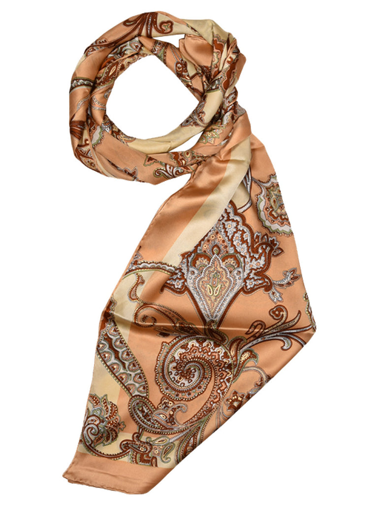Brown & golden silk scarf with nature inspired design