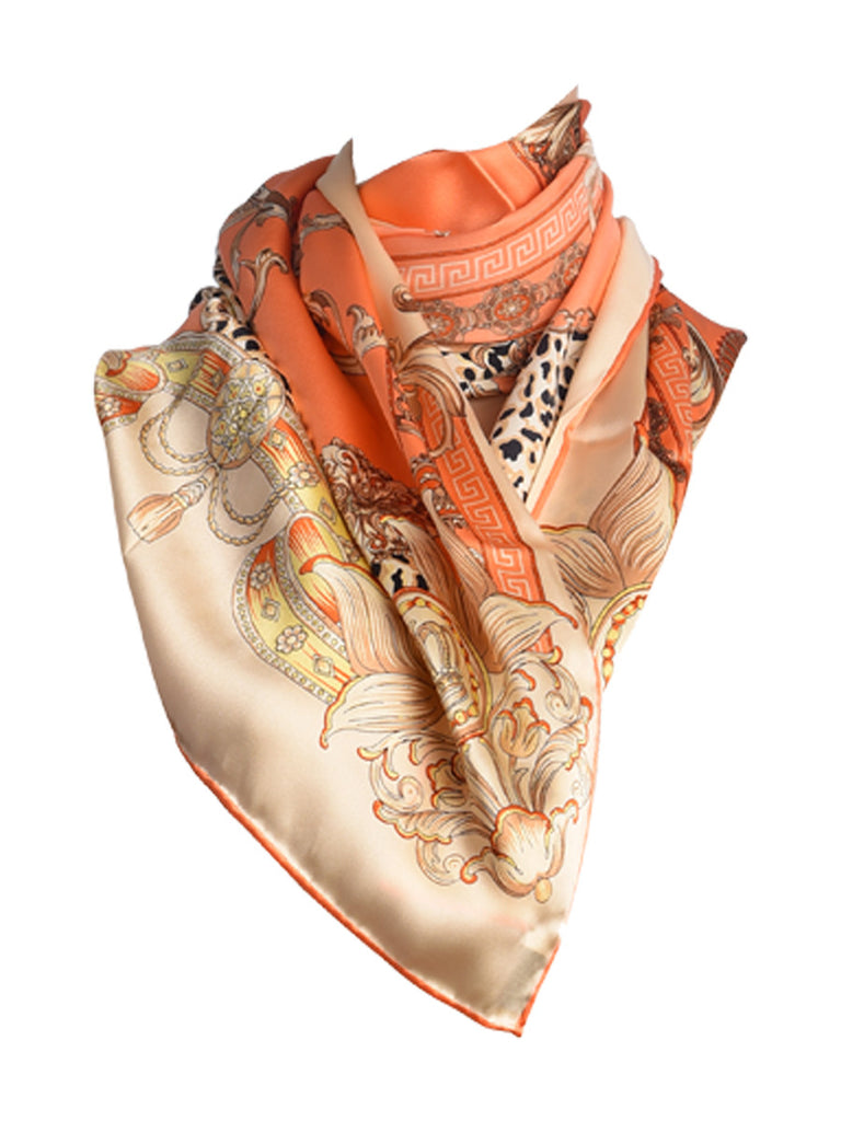 Peach & golden silk scarf with nature inspired floral & leopard design