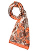 Peach & off-white silk scarf with nature inspired floral design