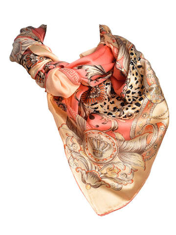 Coral pink & golden silk scarf with nature inspired floral & leopard design