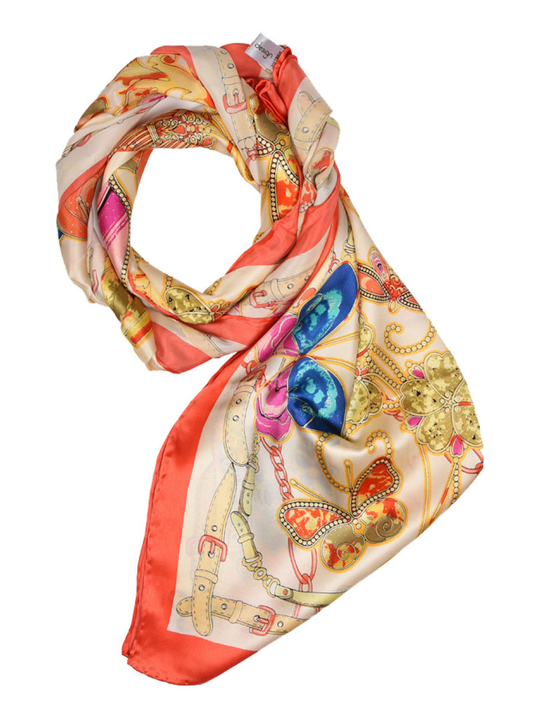 Golden silk scarf with floral & butterfly design