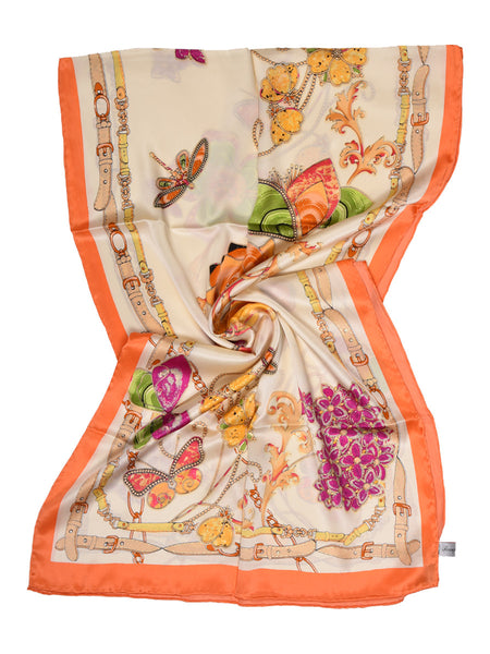 Golden silk scarf with peach border hosting floral & butterfly design