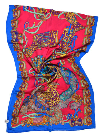 Cerise pink & blue silk scarf with contemporary design