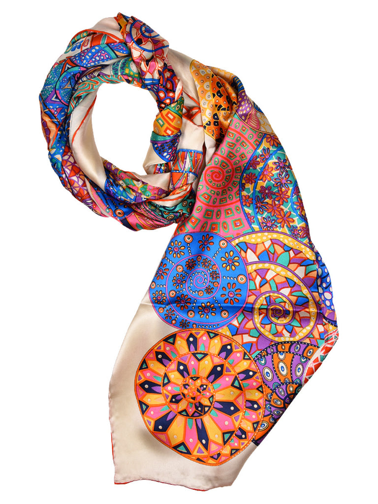 Golden silk scarf with multi color circles design