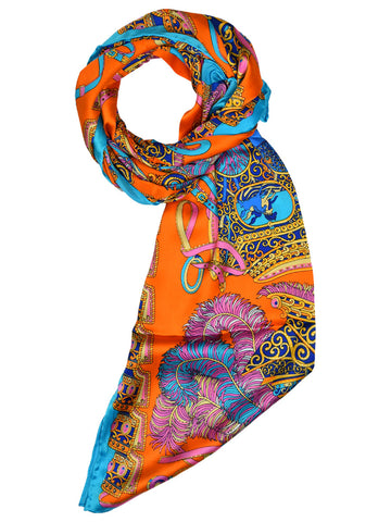 Orange silk scarf with light blue border & contemporary design