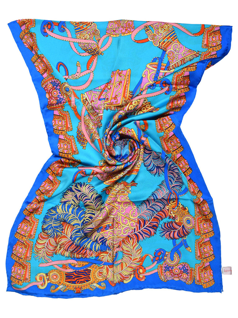 Light blue silk scarf with an electric blue border & contemporary design