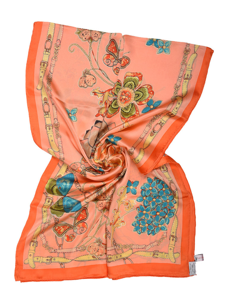 Peach silk scarf with nature inspired floral & butterfly design