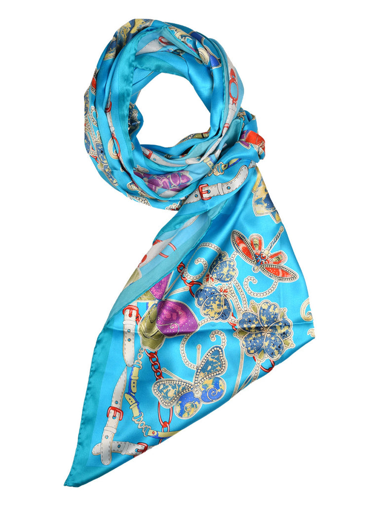 Turquoise blue silk scarf with floral & butterfly design