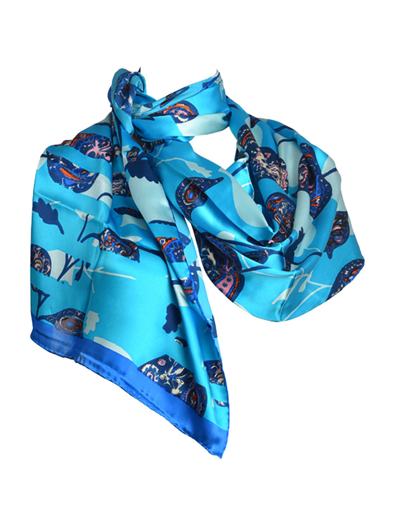 Turquoise blue silk scarf with nature inspired leaves and floral design