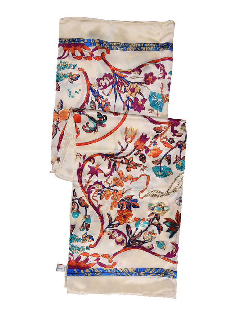 Off-white silk scarf with multi color floral print