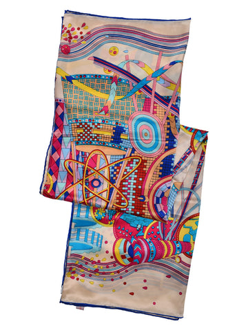 Golden silk scarf with multi color digital print