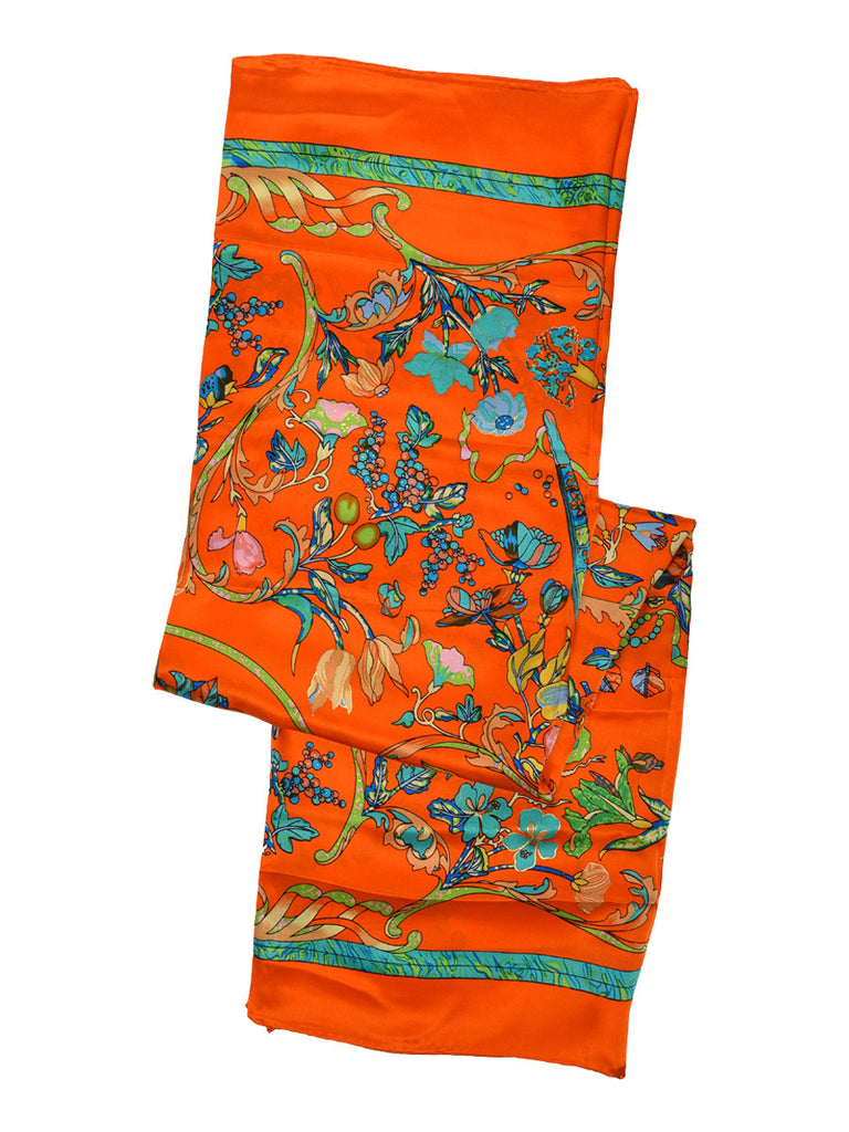 Orange silk scarf with multicolor floral print