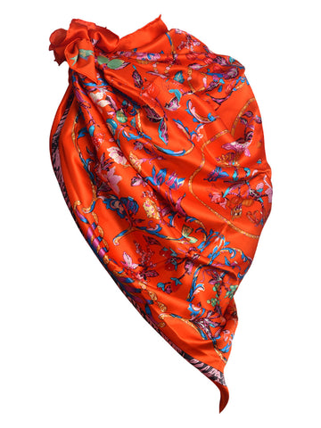 Red silk scarf with nature inspired multi color floral print