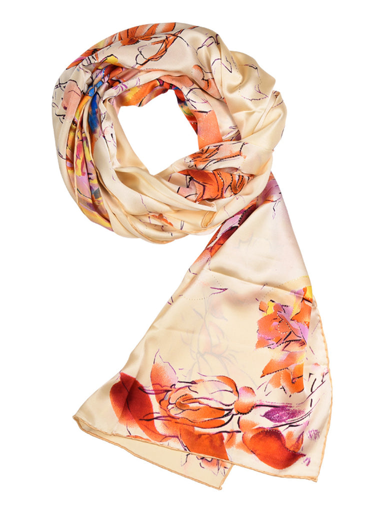 Golden silk scarf with nature inspired floral pattern