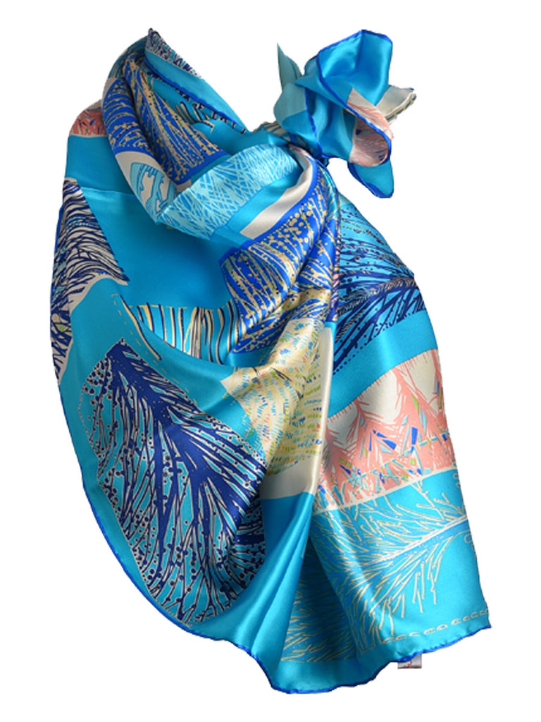 Turquoise blue silk scarf with nature inspired design